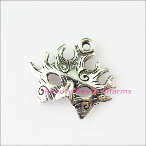 12Pcs Tibetan Silver Tone Fire Mask Masquerade Charms Pendants 18.5x21mm