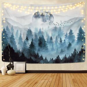 Misty Bosque Tapiz colgante de pared la Luna y montaña tapices Decoración del hogar