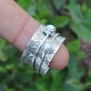 Pearl-Ring-925-Sterling-Silver-Spinner-Ring-Meditation-Ring-statement-Ring-sr25