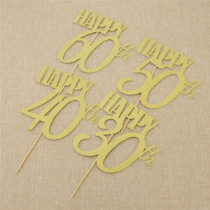 2-Pcs-Happy-30-40-50-60th-Cake-Gold-Toppers-Decorations-Supplies-Birthday-Party