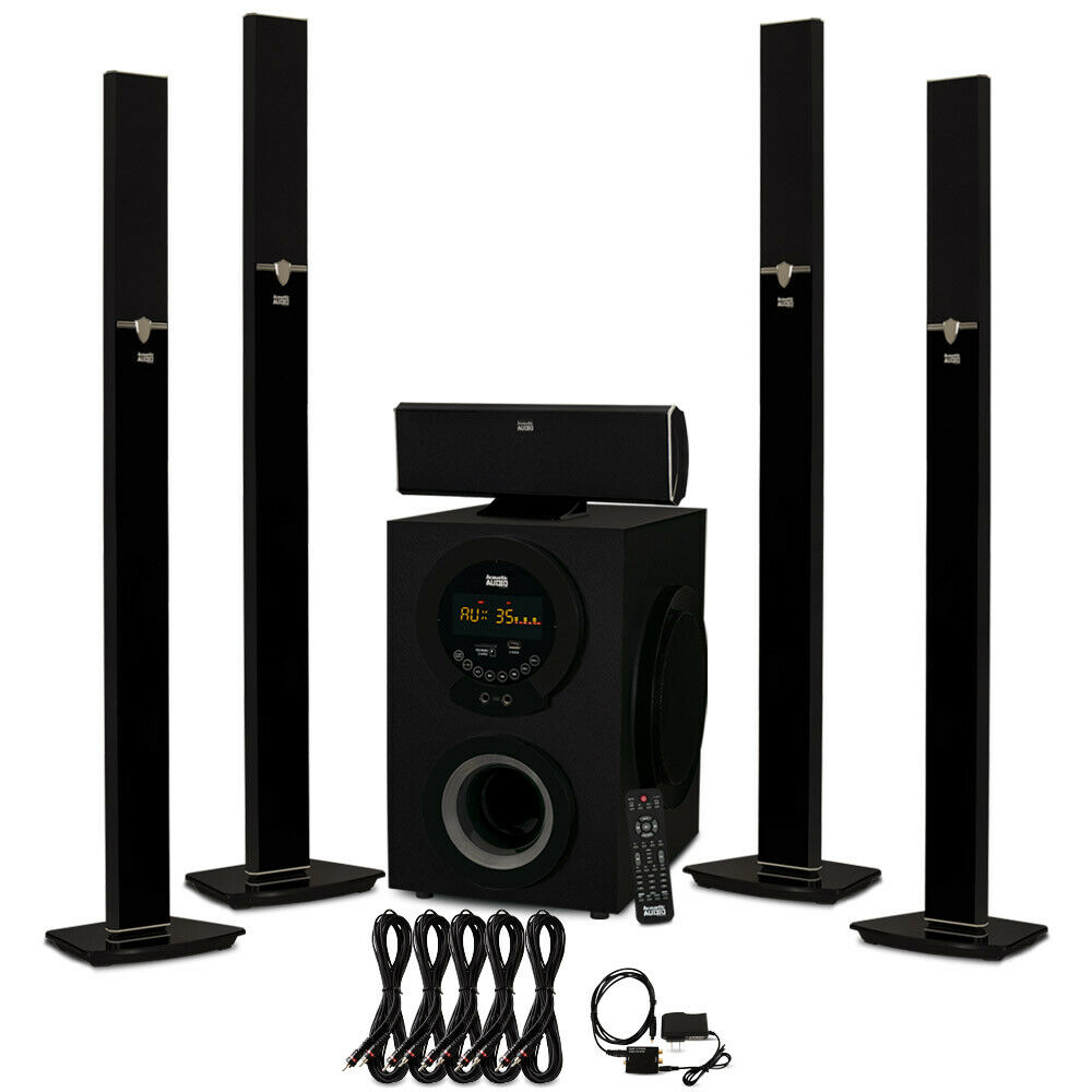 Acoustic Audio AAT3003 blueetooth 5.1 Speaker System Optical In & 5 Ext. Cables