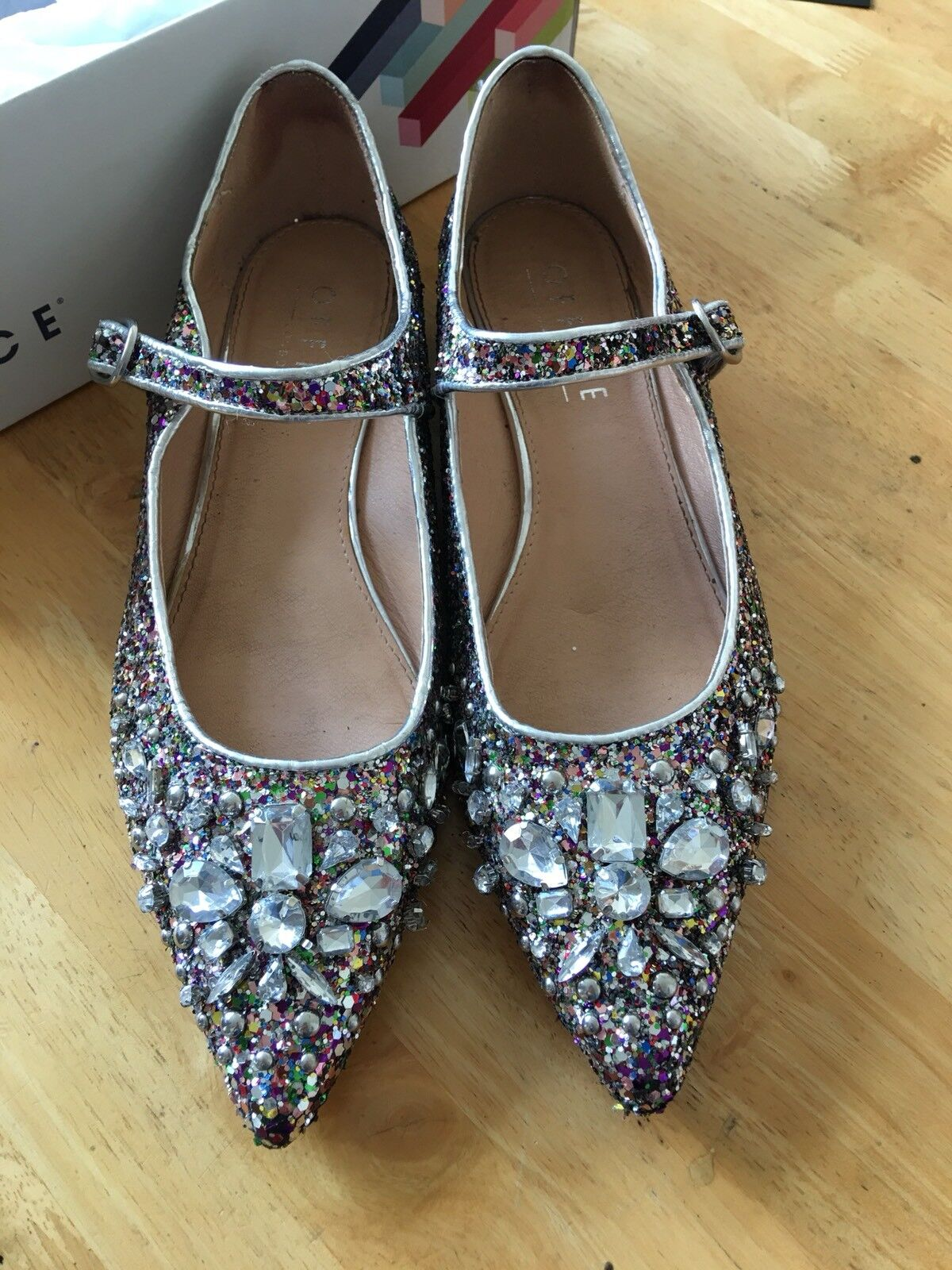 Ladies Feisty Mary Jane Point Multi Colour Glitter shoes Block Heel Office 6