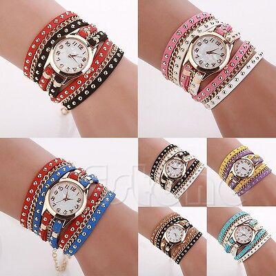 Vogue Women Stunning Multi-Wrap Faux Suede Rivets Sling Chain Quartz Wrist Watch