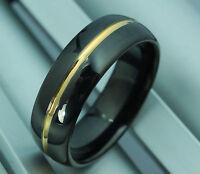 Mens Solid Tungsten Carbide Black Gold Wedding Ring Band Engagemen Size S 0508