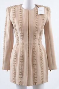 Balmain-baby-pink-4-S-36-suede-lace-up-two-way-zip-cocktail-mini-dress-NEW-9655