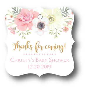 24 Boho Girl Baby Shower Thank You Favor Tag Personalized Name