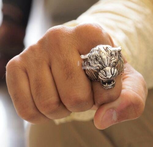 Detailed Oxidized Roaring Tiger 925 sterling Silver Tiger Men/'s biker rider Ring