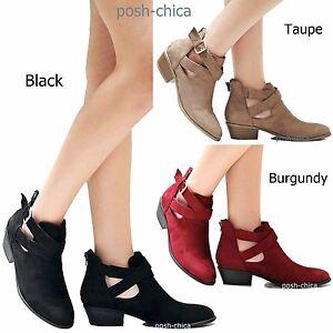 bbaa9e8999aa New Women WMy3 Faux Suede Buckle Booties Western Riding Low Heel ...