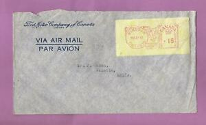 Canada-1947cover-with-meter-label-to-Malta-Rated-15-cents-M15