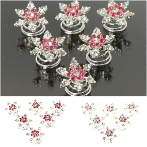 6 Strass Curlies Braut Kommunion Hochzeit Haarschmuck Stern Blume Blüten