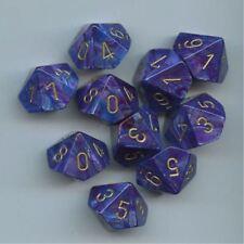 Chessex Dice Sets: Lustrous Purple W/Gold - Ten Sided Die d10 Set (10) CHX 27297