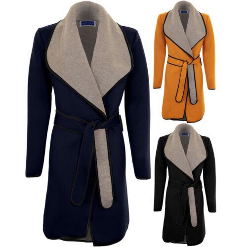 Des Femmes Col PVC gris contraste manches longues tie up belted wrap trench veste