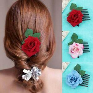 A-la-Mode-pour-Femmes-Double-Soie-Fleur-Rose-Peigne-a-Cheveux-Pince-Cheveux