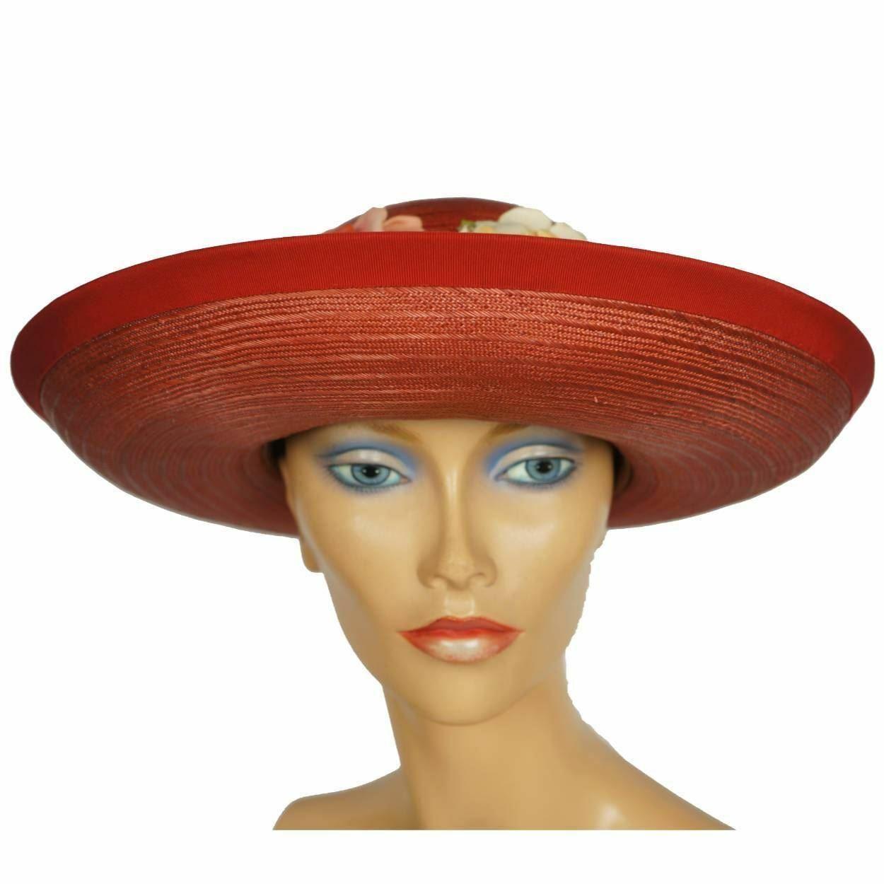 Vintage 1940s Red Straw Hat Wide Brim Flower Deco… - image 4