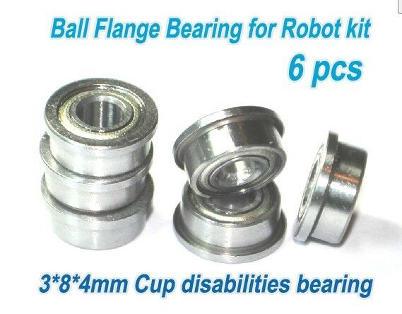 (6pcs) 3 *8 * 4mm Cup Disabilities Bearing Ball Flange Bearing for Robot kit