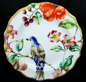 """""""AMBRI"""" BY 222 Fifth set of 4 Appetizer Plates w/Floral, Butterfly, Bird-NWT"""