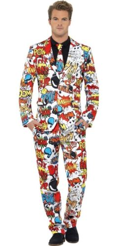 Mens Comic Book Strip Stand Out Suit Superhero Fancy Dress Costume Outfit M-XL
