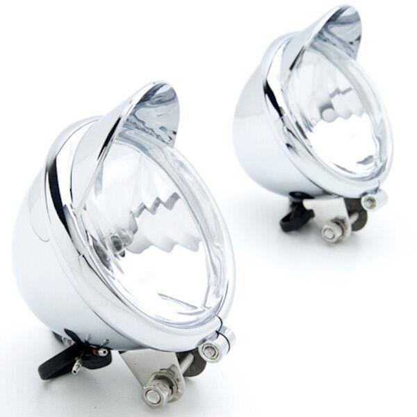 Pair Universal Motorcycle Fog Light Lamp Mini Headlight Lights With Visor Chrome