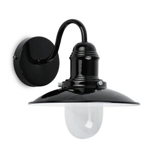Black Gloss Wall Lights : Modern Gloss Black Metal Fishermans Pendant Wall Light Vintage Style Lighting