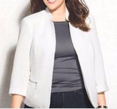NWT ROZ & ALI Dress barn Ivory Textured Jacket Blazer Motto Look SIZE S LINED!!   eBay