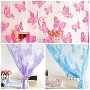 Romantic-Butterfly-Print-Sheer-Curtain-Panel-Window-Balcony-Tulle-Room-Divider