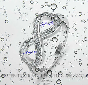 ANELLO-INFINITO-ARGENTO-925-INFINITE-LOVE-INFINITY-RING-ROD-ORO-BIANCO-BRILLANTI