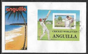 ANGUILLA 1987 ICC CRICKET WORLD CUP Souvenir Sheet FDC