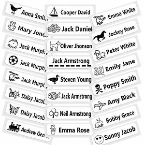 50-pre-tagliati-iron-on-SCUOLA-nome-nastri-di-etichette-tag-per-schoolwear-Designs