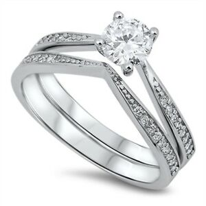 .925 Sterling Silver Round Cut Clear CZ Tiara Engagement Wedding Ring Set NEW