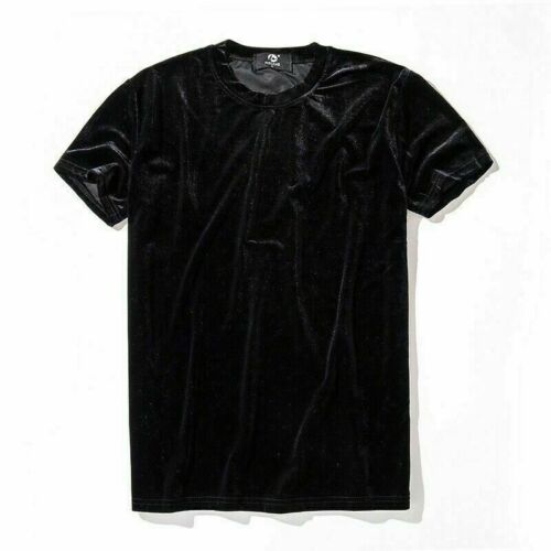 Mens Womens Velvet Short Sleeve T-Shirt Crew Neck Velour Top Tee Shirt Retro