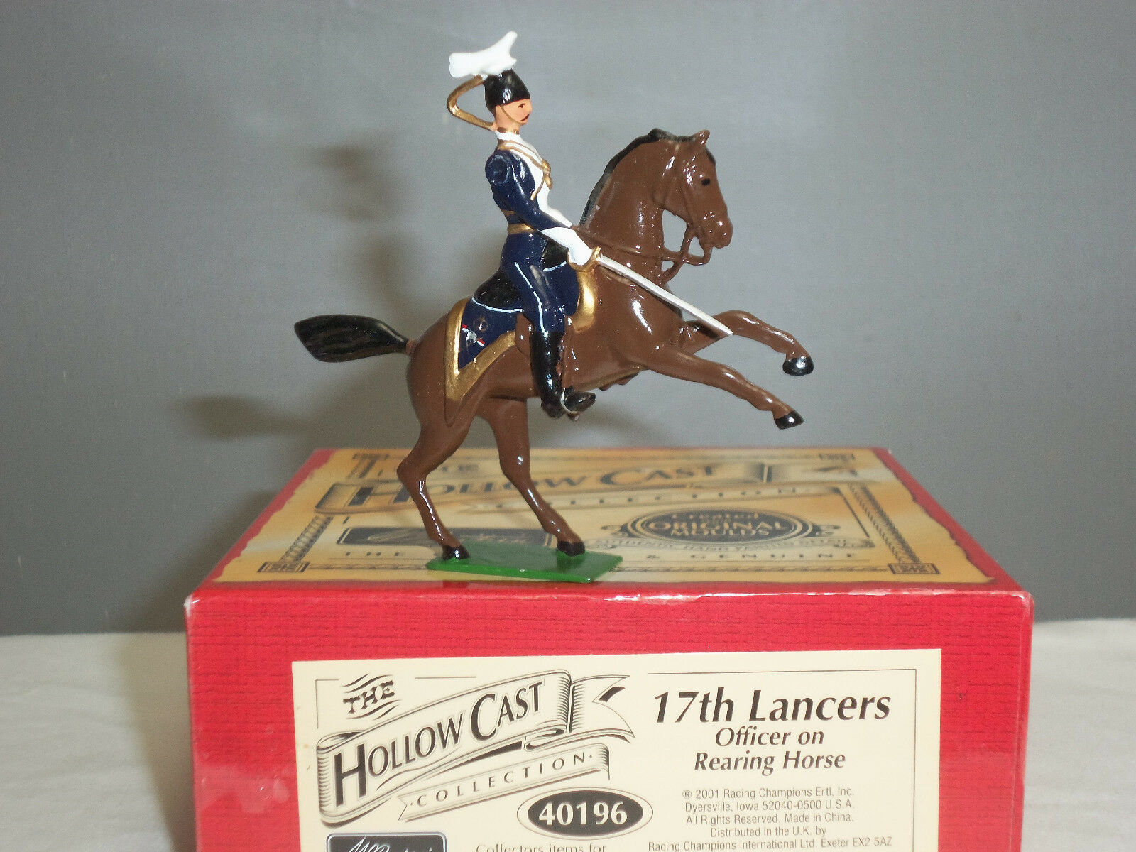 BRITAINS 40196 BRITISH 17TH LANCERS OFFICER MOUNTED ON REARING HORSE TOY SOLDIER