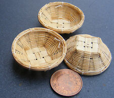 1:12 fatto a mano cesti di bambù (3) Casa delle Bambole Miniatura Accessorio alimentari articolo BS