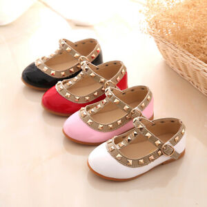 Girls' Shoes Clothing, Shoes & Accessories Kids Girls Toddler Sandals Slip On Rivet T-strap Flats Casual Pointed Toe Shoes
