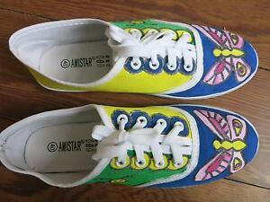 Details zu handbemalt Sneaker Chucks Schuhe Schmetterling Raupe, Unikat Design Gr. 40 39