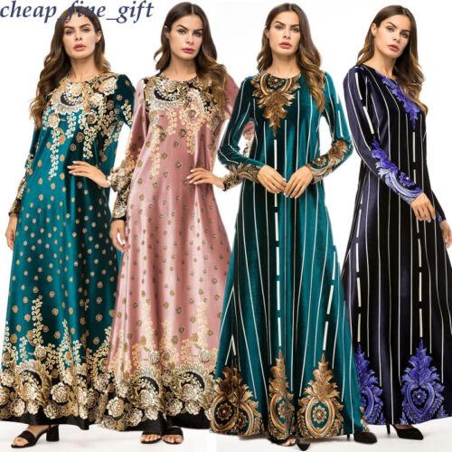 Muslim Velvet Dress Autumn Islamic Long Sleeve Abaya Winter Women Floral Kaftan