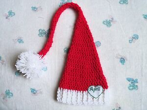 a455b4df5 Details about Handmade Crochet Personalized Baby Long tailed Elf Hat, Photo  Prop (0-3 month)