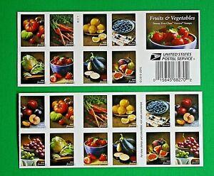 Fruits & Vegetables Stamps - 2 Booklets (40 Forever Stamps) at BELOW FACE VALUE!