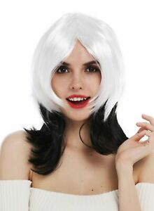 Perruque-pour-Femme-Halloween-Carnaval-Vampire-Noir-Blanc-Graduee-Sexy-Sorciere