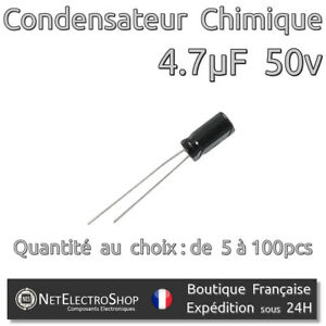 85° Lot de 5 condensateurs 47 µf   50 v
