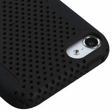 iPod Touch 5th & 6th Gen - HARD&SOFT SILICONE RUBBER HYBRID SKIN CASE BLACK MESH