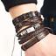 bracciale-uomo-pelle-in-cuoio-con-corda-bracciali-braccialetto-set-acciaio-da miniatura 8