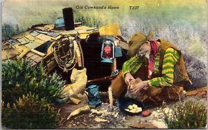 Old-Cowhand-039-s-Home-Campfire-Eggs-Lantern-c1952-Vintage-Postcard-J18