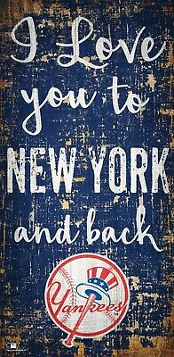 "NEW 6/"" x 12/"" Wall Decor NEW York Yankees I love you to NY and Back Wood Sign"