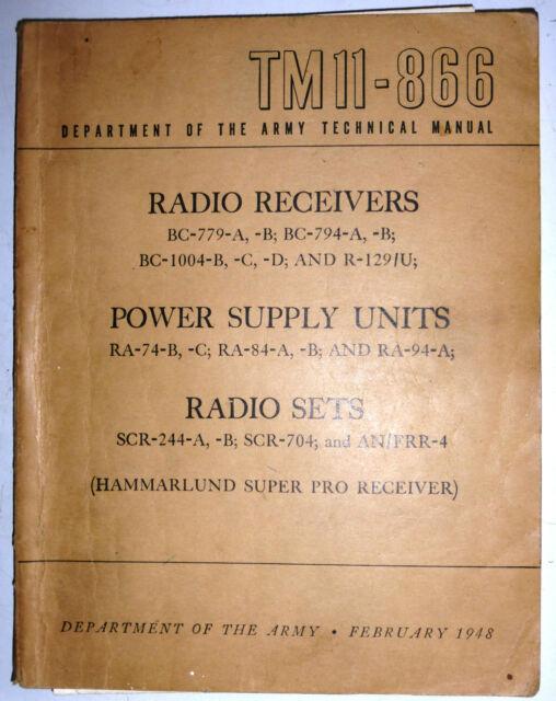 TM11-866 SCR244,704 Radio Receiver BC-779, BC1004, R-129. Power unit RA74 & 84
