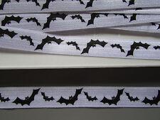 Bat Negro y Blanco Plegable elasticribbon 1.6cm X 1 Metro Costura/Artesanía/Halloween