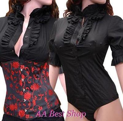 Outfit Bodysuit Ruffles Blouse Jumpsuit Black -PLUS XL 2X 3XL
