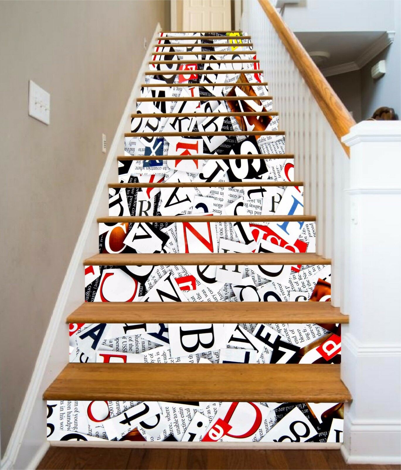 3D Messy Alphabets Stair Risers Decoration Photo Mural Vinyl Decal Wallpaper AU