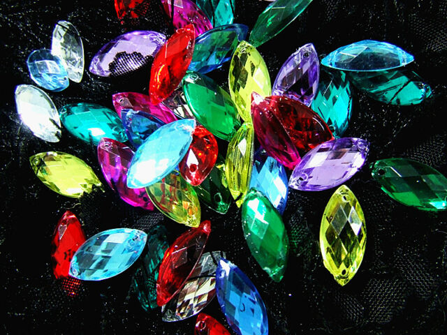 120 Beads Mixed Marquise Faceted Acrylic Gems 7x15 mm Flatback 2 Hole to Sew On