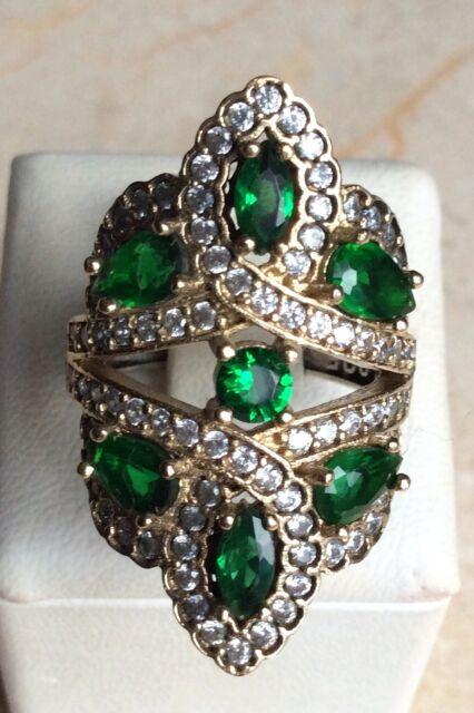 925 Sterling Silver Handmade Gemstone Turkish Emerald Ladies Ring Size 6-9