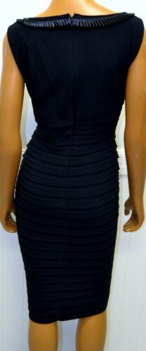 Details about  /Adrianna Papell Lord Taylor dress 16W black tan tiered satin folds neckline NEW